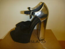 RIVER ISLAND OXYGEN BLOCK HEEL BOXED SHOES SIZE UK 4 EUR 37 BLACK SILVER 5.5""