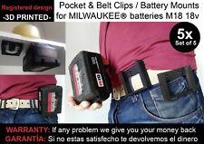 5x Battery mounts MILWAUKEE M18 18v support bracket Shelf Rack Stand belt mount