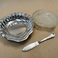 Shell Butter Dish Chrome Plated Butter Slice Spreader Plastic Insert Ornate Soap