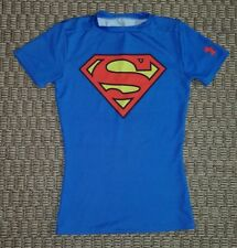 Under Armour Super Man logo boys heat gear fitted blue T Shirt size Youth Small