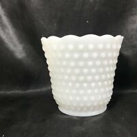 "Vintage Milk Glass Hobnail Ladder 4-1/2"" Scalloped Planter"