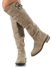 Qupid Relax-01x Taupe Over The Knee Riding Boots 7.5