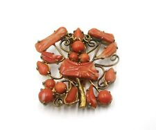 Antique Chinese metal & coral clip