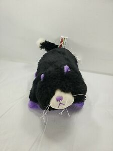 "Pee Wee Pillow Pet Black & Purple Cat 11"" Curious Cat Stuffed Animal"