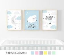 Sweet Dreams Nursery Prints Set of 3 Girl Boy Baby Room Pictures Wall Art Decor