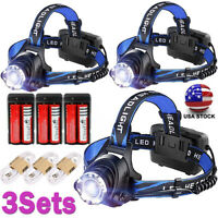 Tactical 350000LM  LED Zoomable Rechargeable USB Headlamp Headlight Torch Lamp