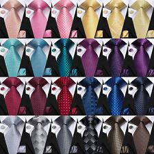 Geometric Mens Ties Jacquard Woven Yellow Necktie For Men 100% Silk Pink Tie Set