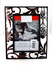Picture frame for 5 by 7 inch photo picture black cut out copper fall leaves