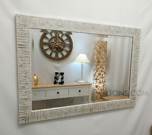John Lewis Blanca Wood Frame Wall Mirror Bevelled Glass 106x76cm Silver White