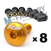 Gold R6 Logo Windscreen Fairing bolts For Yamaha YZF R6 99-2004 2005 06 07 12 13