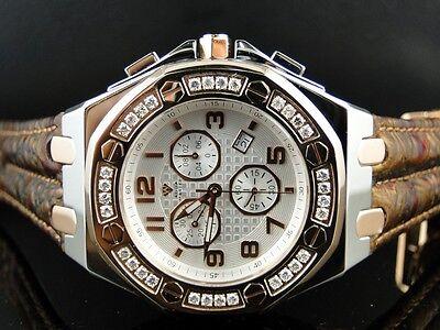 Mens New Aqua Master Jojo Joe Rodeo Royal Oak Rose Diamond Watch 32 1.5 Ct Swiss