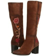 NEW FRYE Sz8US NOVA FLOWER EMBROIDERED TALL ROUND TOE SUEDE BOOTS BROWN