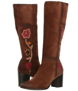 $598 NEW FRYE Sz8US NOVA FLOWER EMBROIDERED TALL ROUND TOE SUEDE BOOTS BROWN