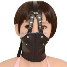 Lockable Slave Facemask Neck Collar Bondage Restraints Fixation + Mouth Gag