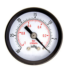 "1-1/2"" Dry Utility Vacuum Pressure Gauge Steel 1/4"" Center Back -30HG/0PSI NV"