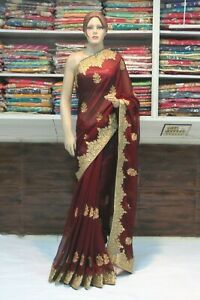 Bollywood Silk Georgette Brown Designer Saree Indian Sari Bridal Party Dress