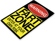 Tin Sign Fart Zone Caution Warning Metal Décor Wall Store Shop Garage A362