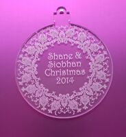 Personalised Laser Cut & Engraved Clear Acrylic Perspex Bauble Christmas