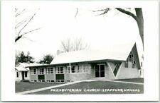 STAFFORD Kansas RPPC Real Photo Postcard PRESBYTERIAN CHURCH Building View 1950s