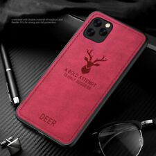 For iPhone 12 11 Pro Max XS XR Christmas Elk Cloth Fabric Hybrid Thin Case Cover