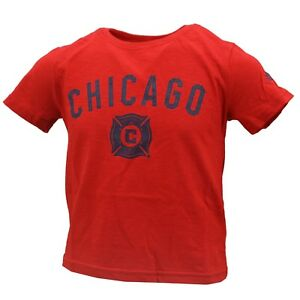 Chicago Fire SC Official MLS AdidasYouth Kids Size Distressed T-Shirt New Tags