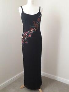 MONSOON EVENING DRESS * Vintage * Beaded * Black & Floral * Matching Bag * Sz 10