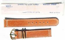 1944-DATED MINT US ARMY TAN PIGSKIN LEATHER WATCH BAND W/ BRASS BUCKLE & KEEPERS
