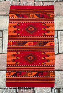 """Zapotec Oaxacan 23""""x40"""" Hand Woven Red Diamond Home Floor Wall Wool Tapestry Rug"""