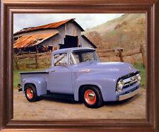 Ford F 100 V8 Pickup Vintage Truck Mahogany Framed Picture Art Print (18x22)