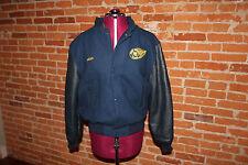 West Seneca Wings Youth Ice Hockey Jacket Size S/P Blue with Black Leather Alex