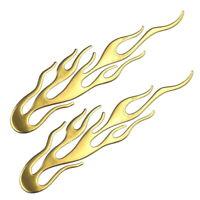 2x Flammen Gold Aufkleber Sticker 3D Auto Motorrad Flamme Feuer Tribal Tuning