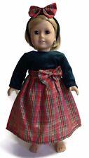 Plaid Dress w/Green Bodice & Headband for 18 inch American Girl Doll Clothes