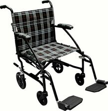 New DRIVE Medical Fly Lite Ultra Light Weight Transport Wheelchair Black Frame