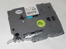 Cassette de cinta 12mm N/B para Brother P-Touch TZ-FX231, TZE-FX231