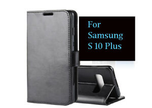 BLACK PU LEATHER WALLET CASE KICKSTAND COVER FOR NEW SAMSUNG GALAXY S10 PLUS