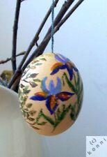 Osterei bemalt alt Blüten Schmetterling Ei handbemalt Kunstwerk Baumschmuck _e21