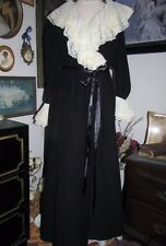 VANITY FAIR Vintage Crystal pleated LACE Black Velour Long ROBE Dressing Gown S