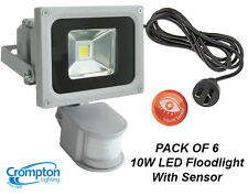 3 X Crompton 10w LED Outdoor Security Floodlights - Motion Sensor Cord & Plug