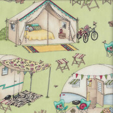 Caravan Tents Teepees on Green Roam Sweet Home Quilting Fabric FQ or Metre *New*
