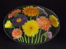 """Peggy Karr Gerbera Daisies 17"""" Glass Platter Signed & Dated"""