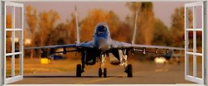 Huge 3D Panoramic Army Jet Fighter Plane Window View Wall Stickers Mural 23