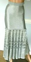 New NWT Alexander Mcqueen Silver Embroidered Dress Maxi Skirt IT 36 38 US 0 2 XS