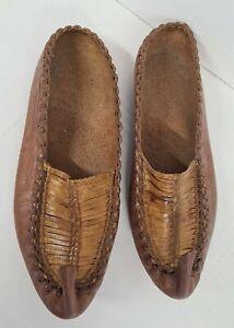 Vintage Shoes Indian Handmade Jutties Leather Brown Khussa Mojaries