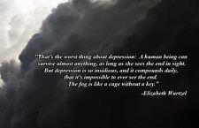 A4 Poster - Inspirational Quote Elizabeth Wurtzel Depression (Picture Poster)