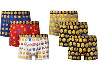 3 Mens Emoji Smiley Faces Cotton Boxer Shorts Trunks Underwear / All Sizes