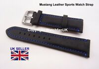 Black Mustang Leather Watch Strap 20mm to 22mm LUG Free Bars