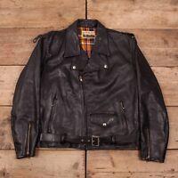 """Mens Vintage 1960s Country Life Black Leather Biker Jacket Large 42"""" R10695"""