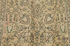 Vintage All-Over Floral MUTED Beige Brown Tabriiz Area Rug Hand-Knotted Wool 6x9