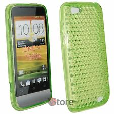 Cover for HTC ONE V Green Diamond Silicone Gel + Display Film
