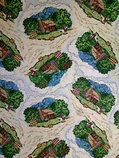 Lovely vintage novelty cotton sewing craft material fabric quilts mountain cabin